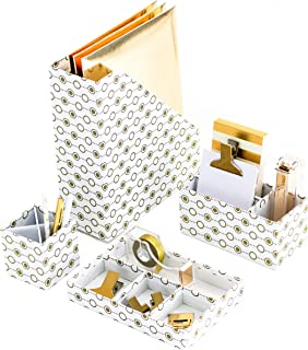 Blu Monaco Gold Desk Organizers and Accessories for Women - 4 Piece Desktop Accessories and Cubicle Decor Set - Letter - Mail Organizer, Desk Organizer Caddy, Pen - Pencil Cup, Magazine File Holder