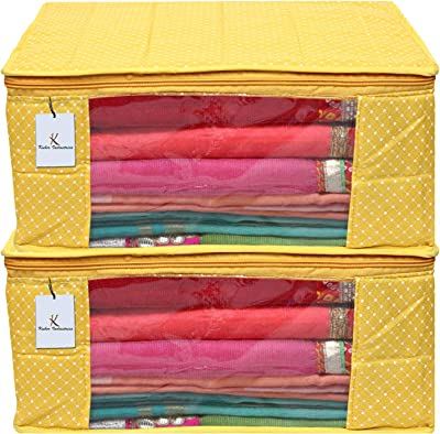 Kuber Industries Polka Dots 2 Piece Cotton 3 Layered Quilted Saree Cover, Yellow-CTKTC25842