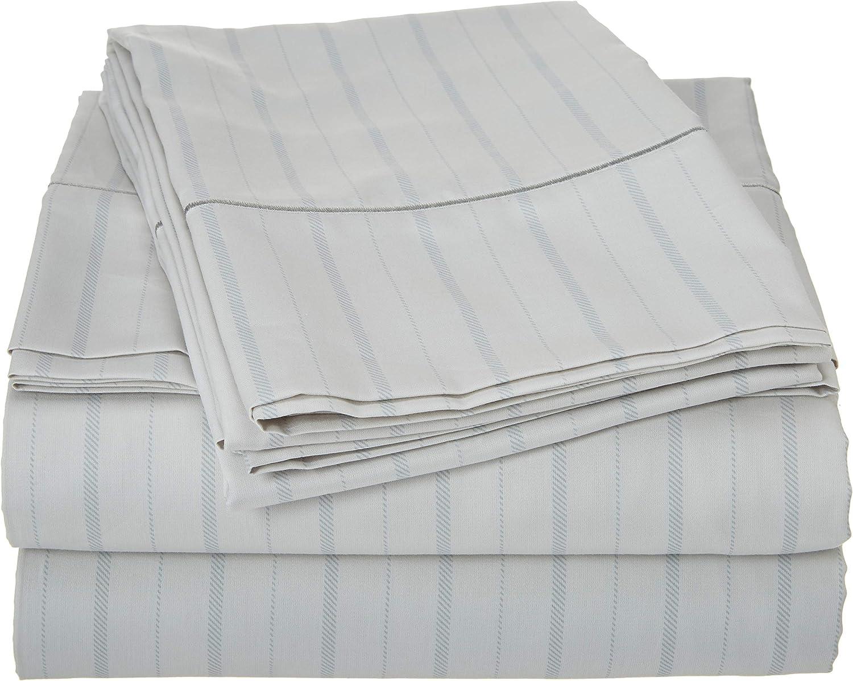 Charisma 310 Thread Count Classic Stripe Cotton Sateen Queen Sheet Set in Dawn bluee