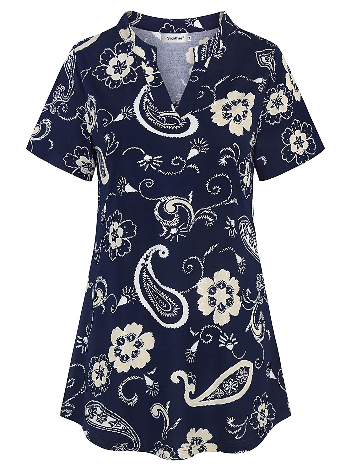Sixother Summer Henley V Neck Short Sleeve Flowy Floral Women Tunic Shirt Casual