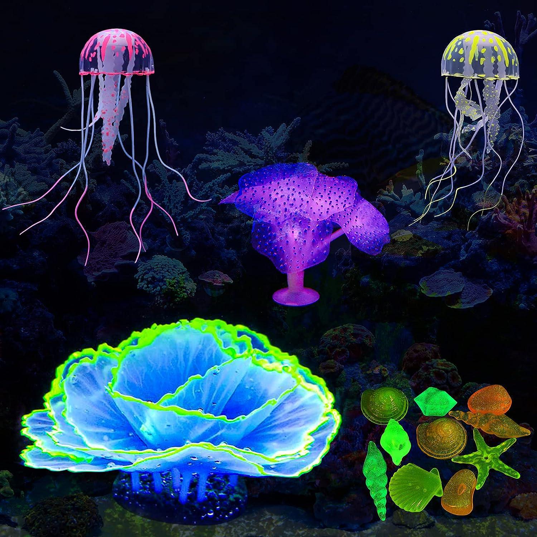RUMIA Glow Aquarium Decorations 4 Jacksonville Mall Orname Pack Tank Glowing Fish Selling rankings