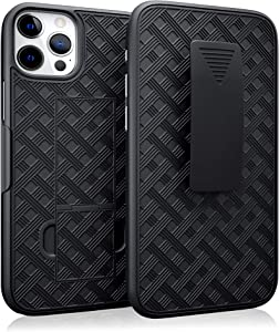PiTau Belt Case Designed for iPhone 12 iPhone 12 Pro, Protective Belt Holster Combo Shell Case with Kickstand + Swivel Belt Clip Belt Case Slim Fits Apple iPhone 12/ 12 Pro (2020 Release), Black