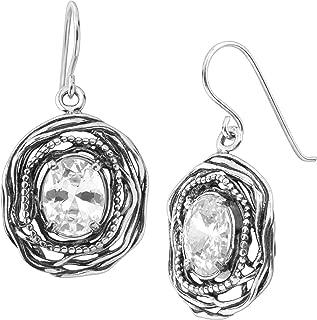 Silpada 'Mirror Image' Drop Earrings with Cubic Zirconia in Sterling Silver