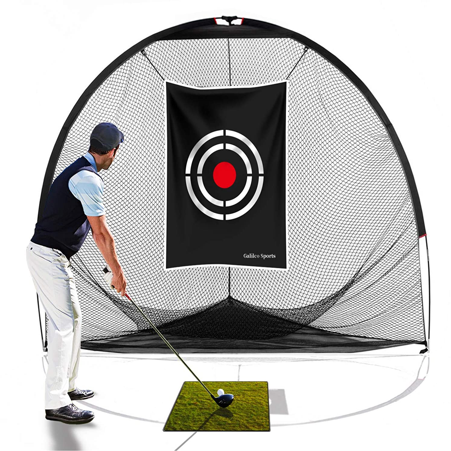 Galileo Golf Nets Golf Practice Net Hitting Netting for Backyard Portable Driving Range Golf Cage Indoor Golf Net Training Aids with Target 8'x7'x7' bbjjqnmbw0086703