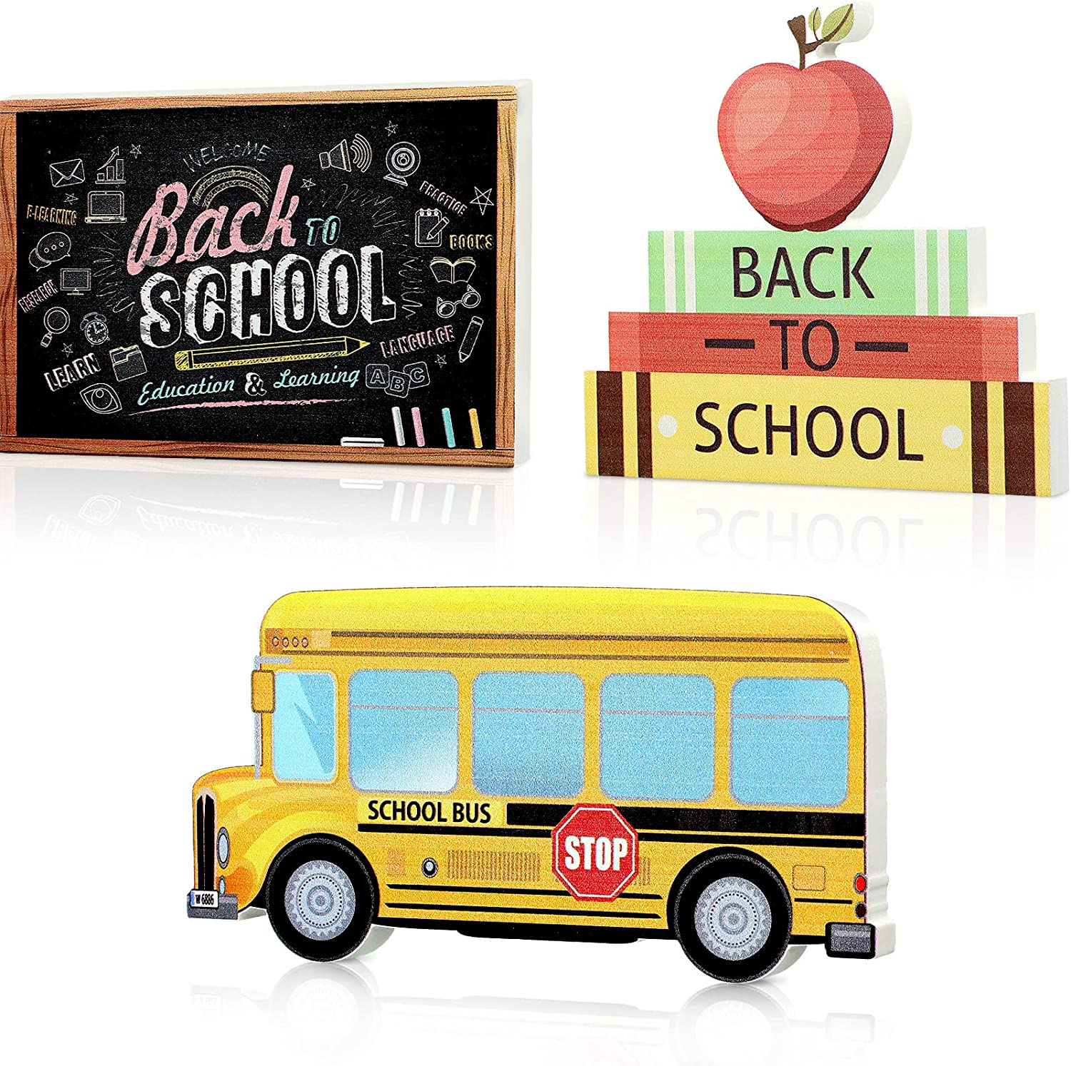 Back To School Decorations 3 Pieces Wooden Table Centerpiece Table Topper Sign for Teacher Appreciation First Day of School Decorations Back to School Party Decorations Supplies Classroom School Decor