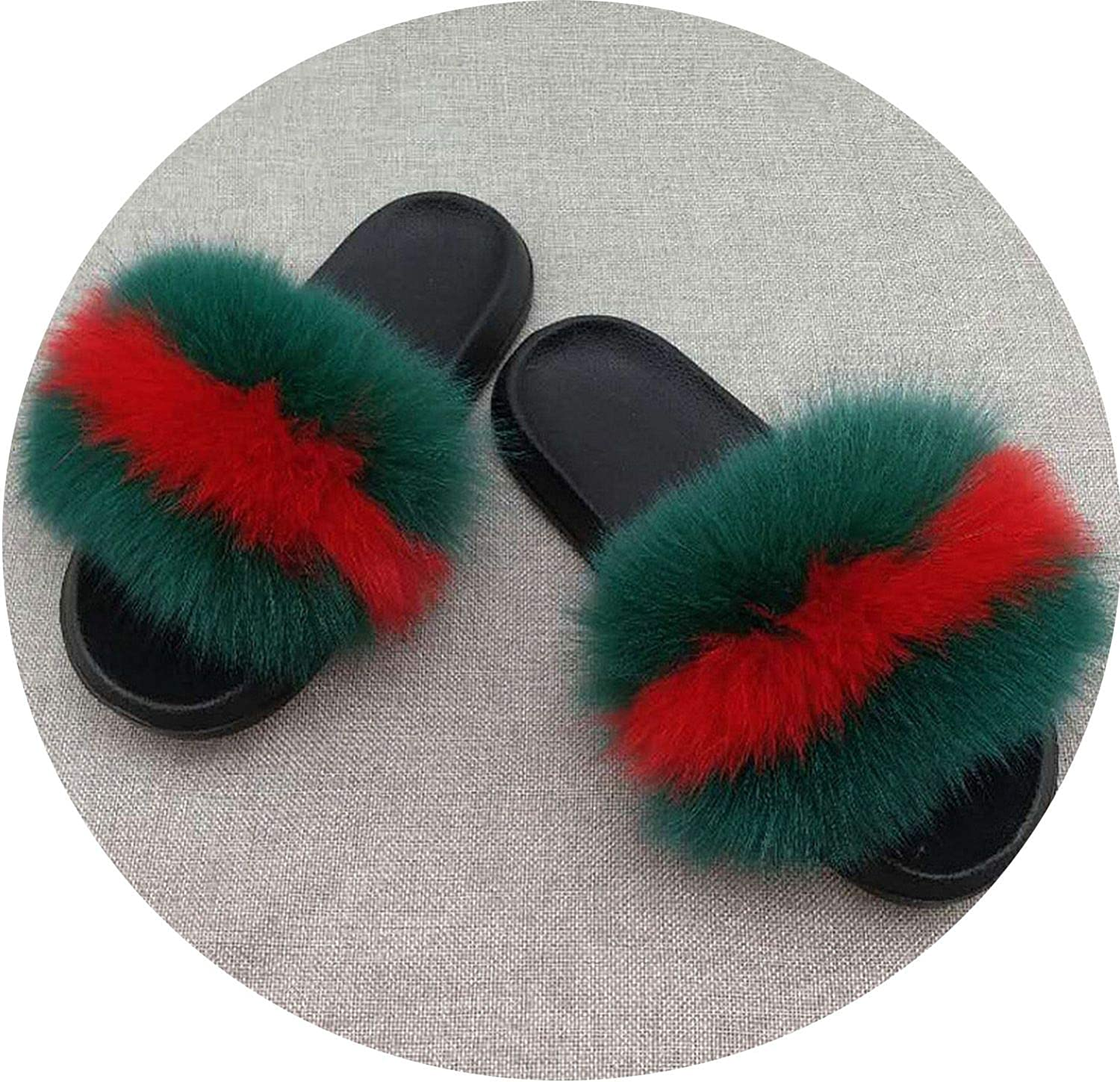 Ferdinanding Real Fur Slippers Women Fox Home Fluffy Sliders Comfort with Feathers Furry Summer Flats Raccoon Ladies shoes Large Size 45 Home,Fox Hair Mixed,13