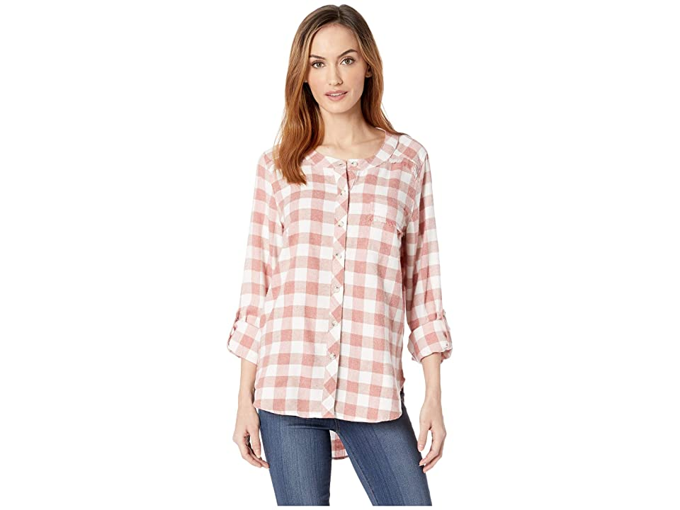 Mod-o-doc Buffalo Check Flannel Mandarin Collar Shirt with Fringe Trim (Rose) Women