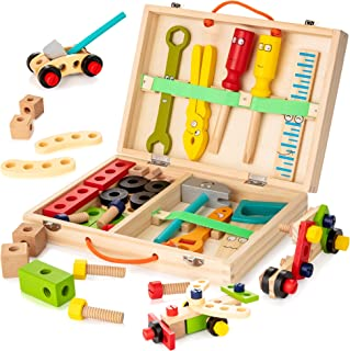KIDWILL Tool Kit for Kids, Wooden Tool Box with 33pcs Wooden Tools, Building Toy Set Creative DIY Educational Construction...