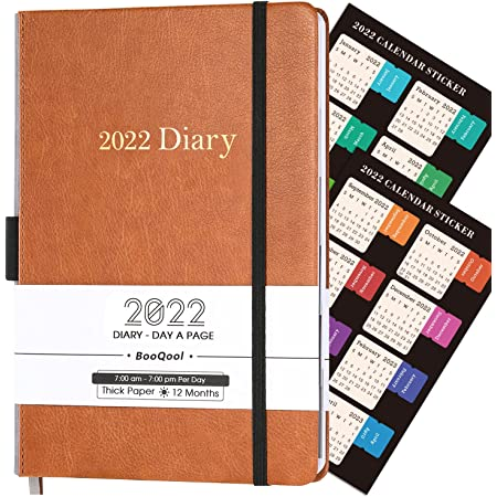 BooQool Diary 2022 - Day to Page Diary, from January 2022 to December 2022, Productivity A5 Daily Planner with Monthly Tabs, Inner Pocket, Banded, 14.3 X 21 cm