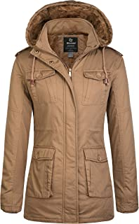 Women's Warm Sherpa Lined Parka Coat with Removable Hood Jacket