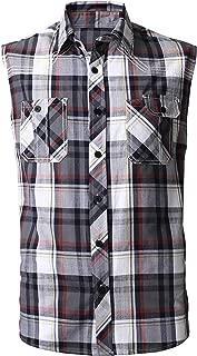 Mens Button Down Sleeveless Plaid Flannel Shirt Checkered Top