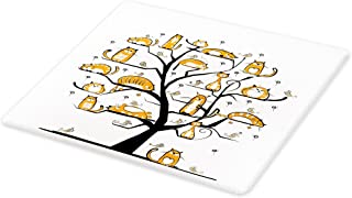 Lunarable Cat Lover Cutting Board, Cat Family Tree with Birds Crowd Fluffy Nature Purebred Humorous Funny Art, Decorative Tempered Glass Cutting and Serving Board, Large Size, Amber White