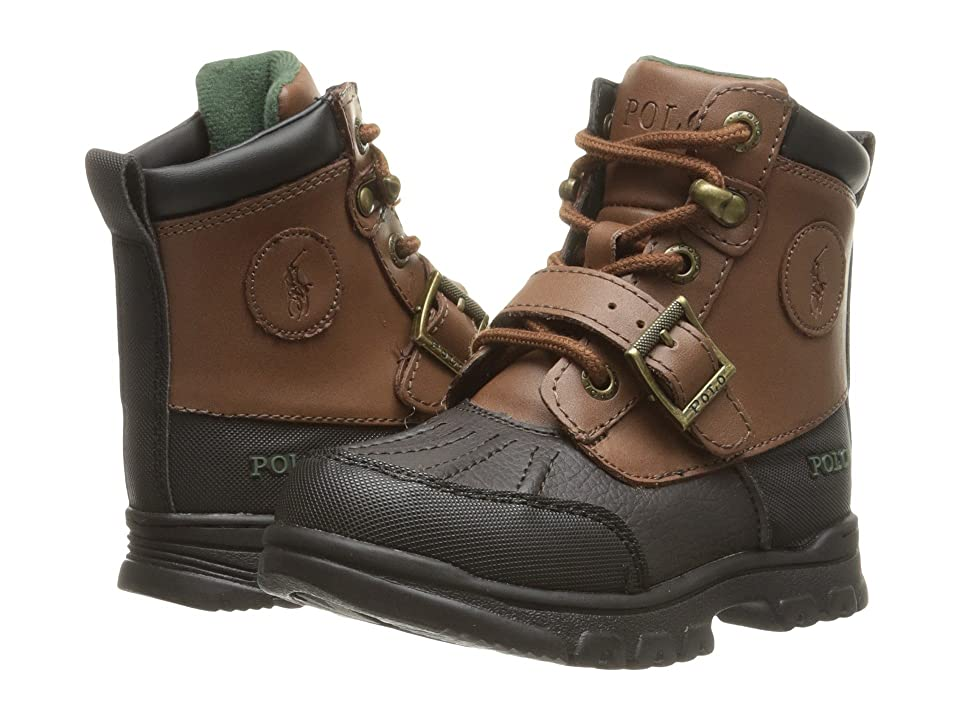 Polo Ralph Lauren Kids Colbey Boot FT14 (Toddler) (Chocolate Tumbled/Tan Burnished Leather) Boys Shoes