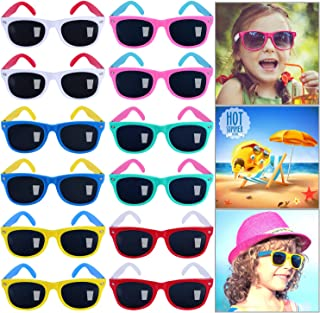 GINMIC Kids Sunglasses Party Favors,12Pack Neon Sunglasses for Kids,Boys and Girls, Great Gift for Birthday Party Supplies, Beach, Pool Party Favors, Fun Gift, Party Toys, Goody Bag Favors - 80's Party Accessories
