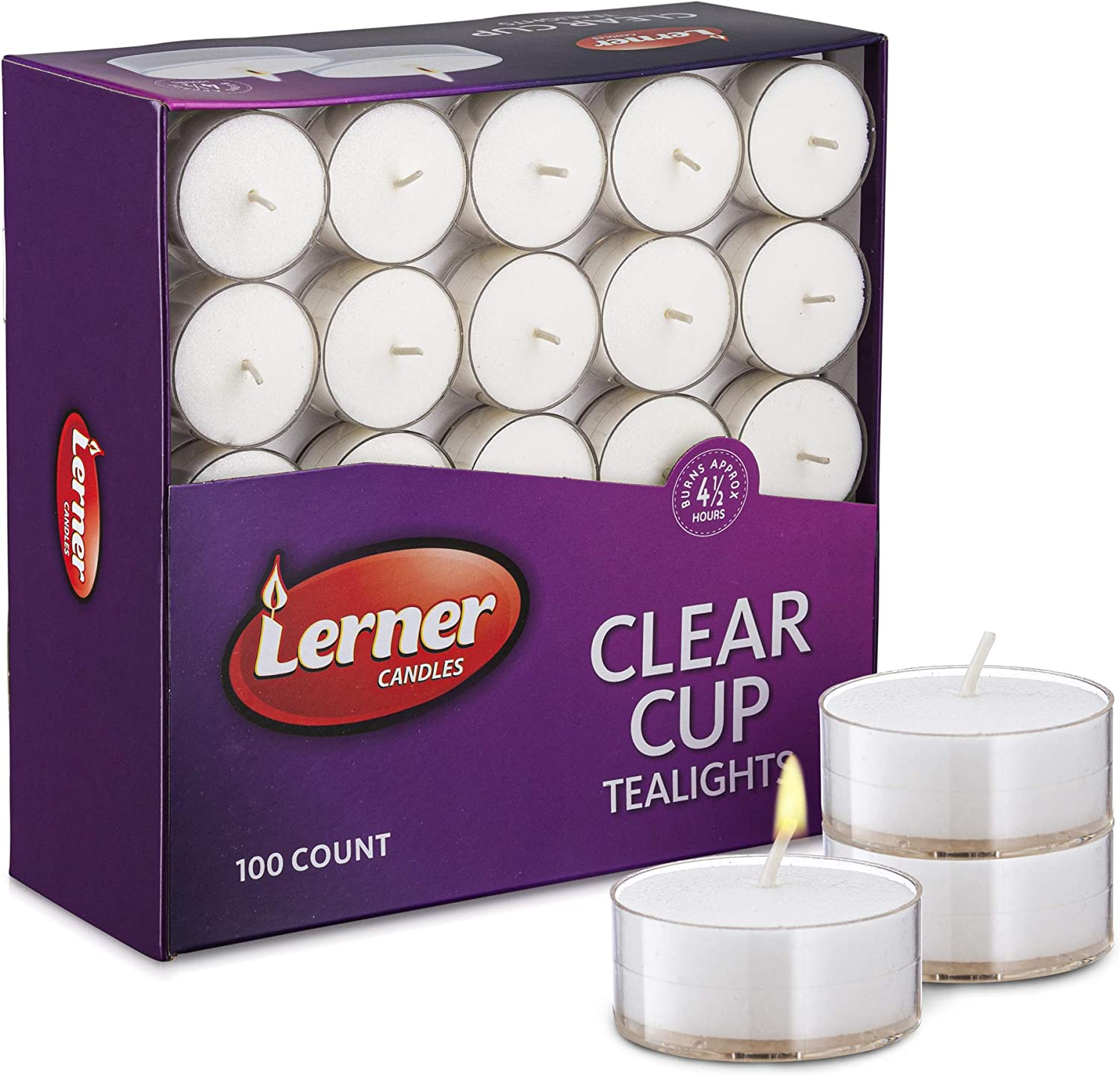 Manufacturer OFFicial shop Lerner Clear Cup White Max 81% OFF Unscented Tea Light Lo Hour 4.5 - Candles