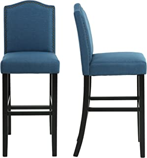 LSSBOUGHT Nailhead 29 Inches Barstools with Solid Wood Legs, Set of 2 (Blue)