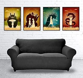 Studio Ghibli Hayao Miyazaki Minimalist Poster Set, Artwork Print, My Neighbor Totoro, Howl's Moving Castle, Princess Mononoke, Spirited Away, Unframed Print, For Kids Room, Home Decor