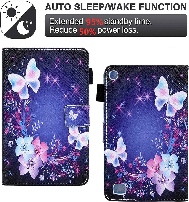 Auto Schlaf//Wachen ,Blau Schmetterling Handy St/änder Shinyzone Tablet H/ülle Kompatibel mit  Kindle Fire 7 2019//2017//2015 mit Stifthalter,PU Leder Tasche Schutzh/ülle mit