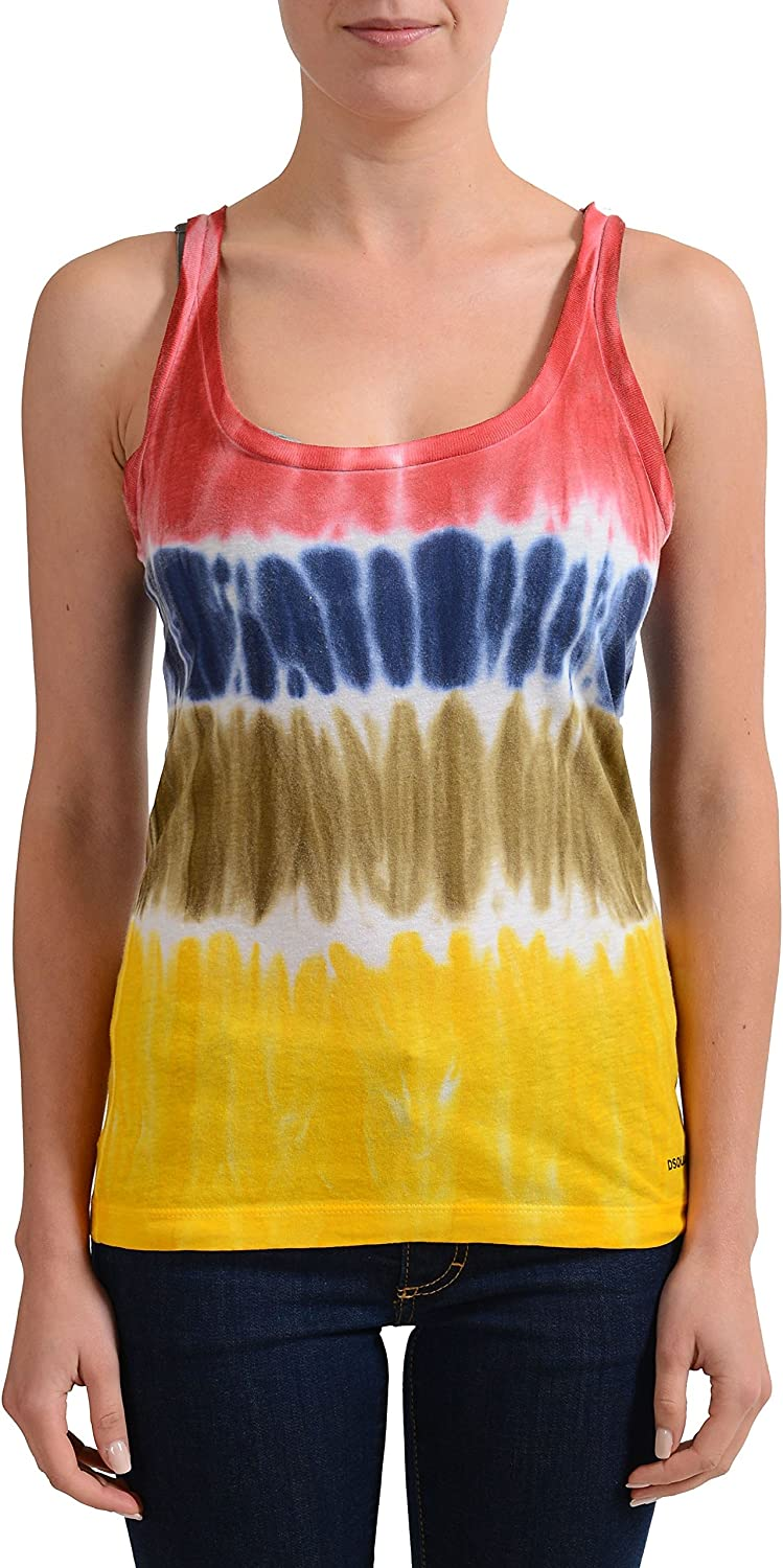 DSQUARED2 Linen Multicolor Sleeveless Women's Tank Top US XS IT 38