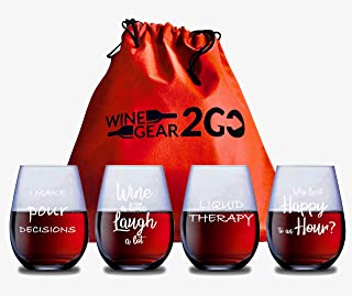 4 Wine Glasses with Travel Bag & Box Unbreakable Great Funny and Durable Shatterproof Plastic Stemless Wine Cocktail any B...