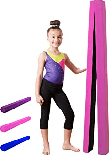 XTEK Gym 10ft Gymnastics Balance Beam: Folding Floor Gymnastics Equipment for Kids, Suede Like Exterior, Non Slip Rubber Base, Gymnastics Beam for Training, Practice, Physical Therapy and Home Use