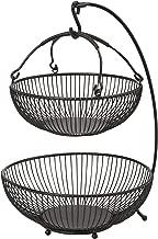 Gourmet Basics by Mikasa 5164241 Spindle Adjustable 2-Tier Basket with Banana Hook, Black