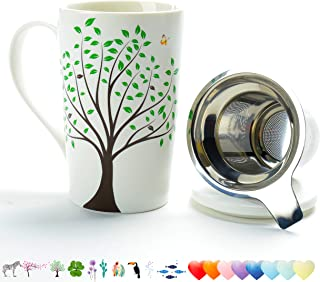 TEANAGOO M58-3 Ceramic Tea-Mug with Infuser and Lid, 18 OZ, Green Tree, Dad Mom Women Teaware with Filter Tea Cup Steeper Maker, Brewing Strainer for Loose Leaf, Diffuser mug set for Tea Lover Gift