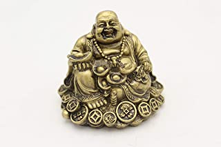 LuckyGifts Mini Vintage Bronze Chinese Feng Shui Happy Laughing Buddha Sitting on Treasure Bed
