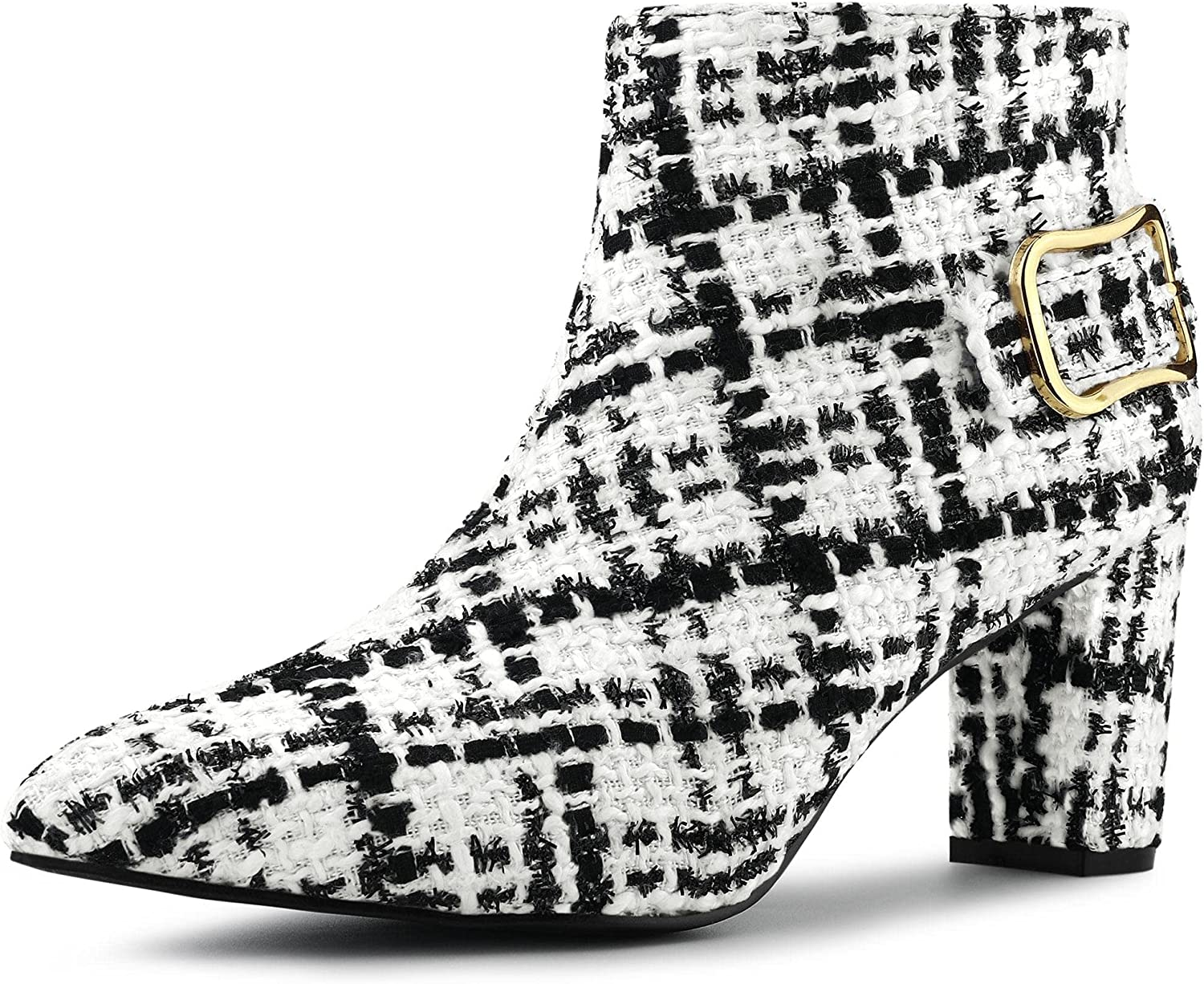 Allegra K Women's Indianapolis Mall Plaid Max 52% OFF Pointed Toe Heels Ankle Chunky Boots