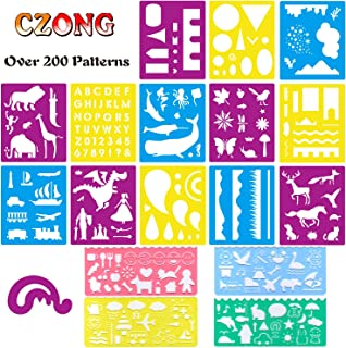 CZONG 18 Pcs Plastic Journal Stencils Set Over 200 Different Patterns for Kids Ideal for Educational and Creativity Toy Painting Washable Template Drawing Stencil for Children with 1 Zipper Bag