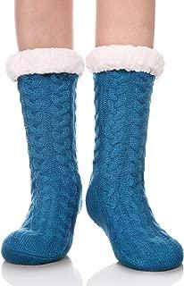 DYW Women's Slipper Socks Christmas Gift Winter Thermal Fleece Lining Knit Fuzzy Cozy Non Slip Stockings