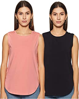 Amazon Brand - Symbol Women's Solid Regular Fit Sleeveless T-Shirt (Combo Pack of 2)