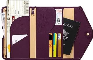 Zoppen Mulit-Purpose RFID Blocking Travel Passport Wallet (Ver.4) Tri-fold Document Organizer Holder, Wine Red/Burgundy