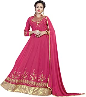 Ethnic Empire Women's Georgette Semi Stitched Salwar Suit(Ethnic_ER106133_ Pink_Free Size)