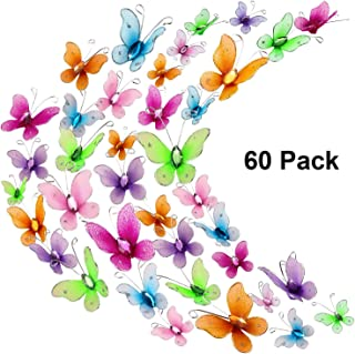 60 Pieces Colorful Butterflies Set, Nylon Butterflies Wire Butterfly with Delicate Gem for Home and Wedding Table Scatter Scrapbook Craft Card Decoration, 2 Sizes (2.5 cm and 3 cm)