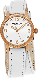 Stuhrling Original Women's 646.01 Vogue Crystals Stainless Steel Watch With Double-Wrap Leather Band