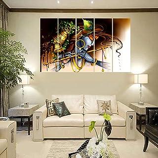PARI ARTS Multiple Frame,Beautiful Krishna Flute Side Face Sparkle Print Art Wall Painting for Living Room,Bedroom,Hotels,...