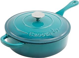 Crock Pot 112013.02 Artisan 3.5 Quart Enameled Cast Iron Deep Sauté Pan, Teal Ombre