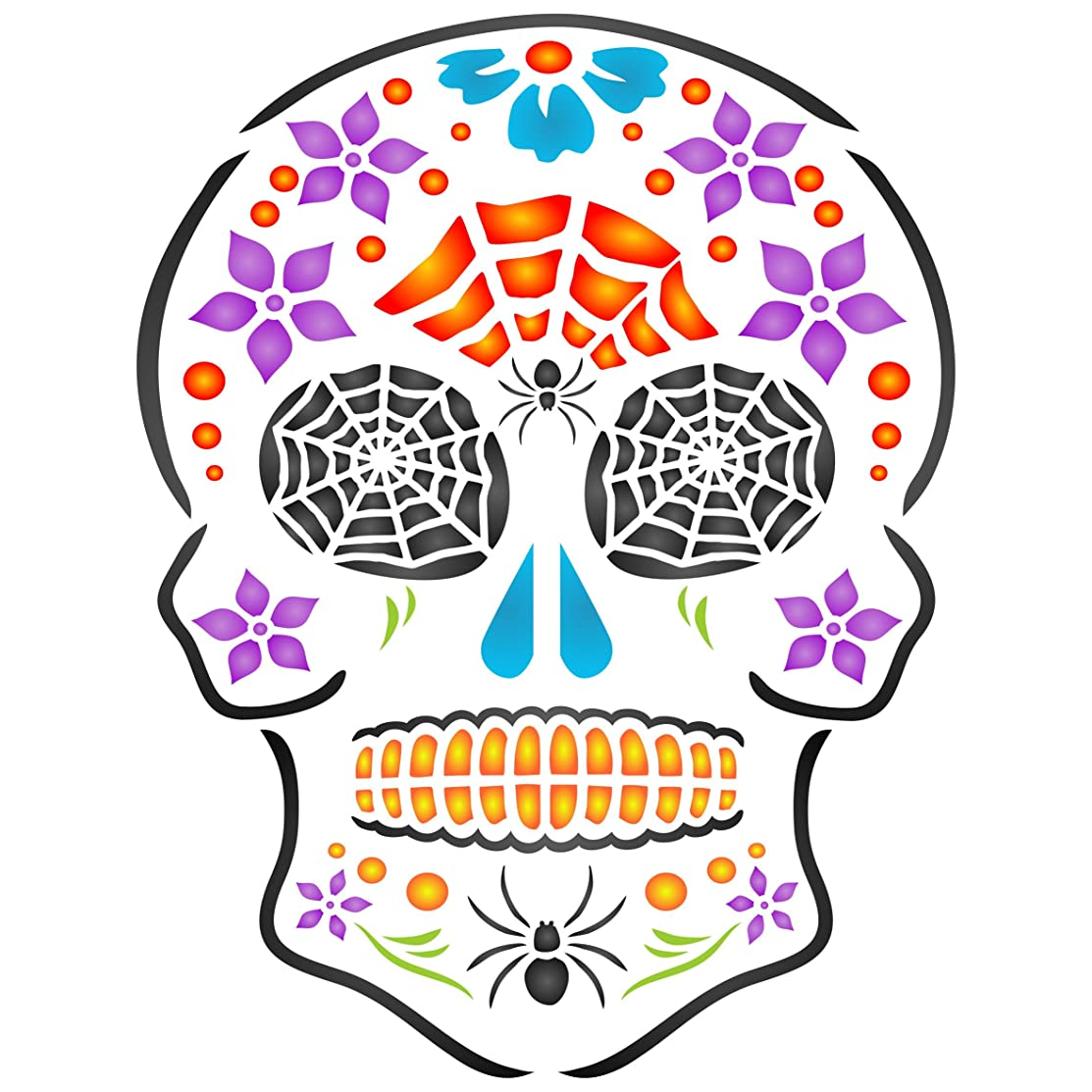 "Halloween Sugar Skull Stencil - (Size 6.5""w x 8.5""h) Reusable Wall Stencils for Painting - Day of The Dead Decor Ideas - Use on Walls, Floors, Fabrics, Glass, Wood, and More…"