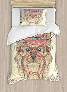 Ambesonne Yorkie Duvet Cover Set, Be Portrait of an Dog with Earrings Necklace Glasses Hat Makeup, Decorative 2 Piece Bedding Set with 1 Pillow Sham, Twin Size, Beige Pink