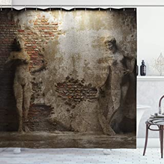 Ambesonne Sculptures Decor Collection, Antique Women Sculptures on Concrete Cement Wall Damaged History Interior Style, Polyester Fabric Bathroom Shower Curtain, 84 Inches Extra Long, Ivory Beige