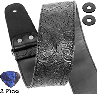 paisley leather guitar strap