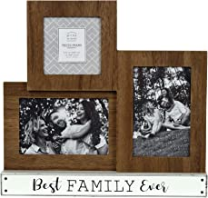 Prinz Quotable 3 Opening Best Family Ever Plank Collage Picture Frame, 12. 65W x 12H inch, Brown