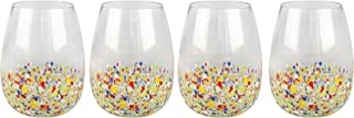 Top Shelf Decorative Multicolor Stemless Wine Glass Set with Gift Box, For Red or White Wine, Unique and Colorful Glassware for Birthday Parties, Weddings, and Housewarmings, Set of 4