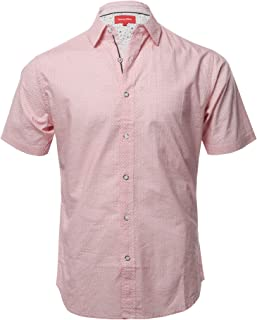 Style by William Men's Casual Cotton Solid Stripe Button Down Short Sleeve Shirt