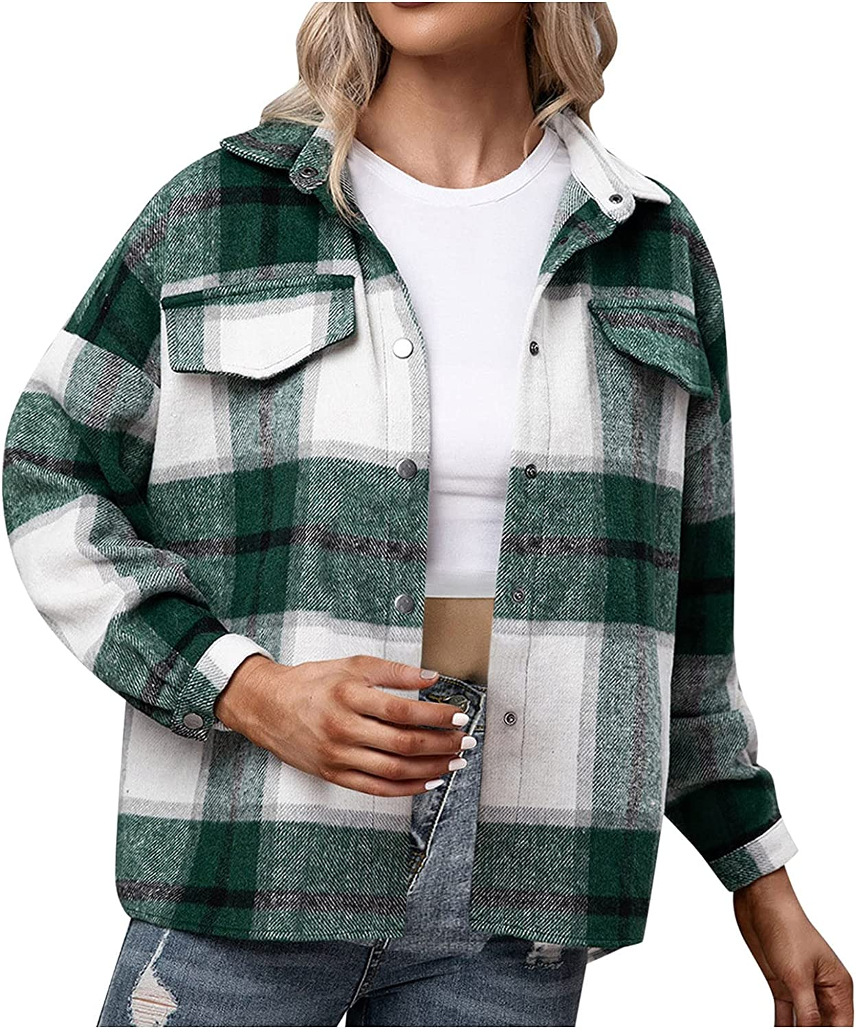 Rovga Women's Casual Christmas Plaid Jacket Long Sleeve Lapel Buttons Down Plush Winter Warm Trench Coat Oversize