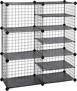 SONGMICS Cube Storage Unit, Interlocking Metal Wire Organizer with Divider Design, Modular Cabinet, Bookcase for Closet Be...