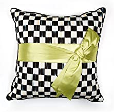 MacKenzie-Childs Courtly Check Green Sash Pillow, Square, Beautiful Accent Pillow, Cover and Pillow Insert Included, 20 In...
