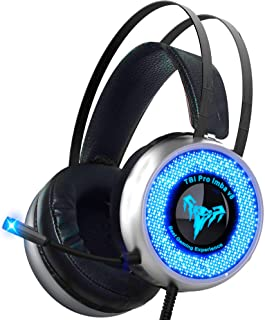 TBI Pro V8 IMBA Gaming Headset with 50MM High-End Dynamic, Comfy Earmuffs, LED, Adjustable Microphone, Mute and Volume Con...