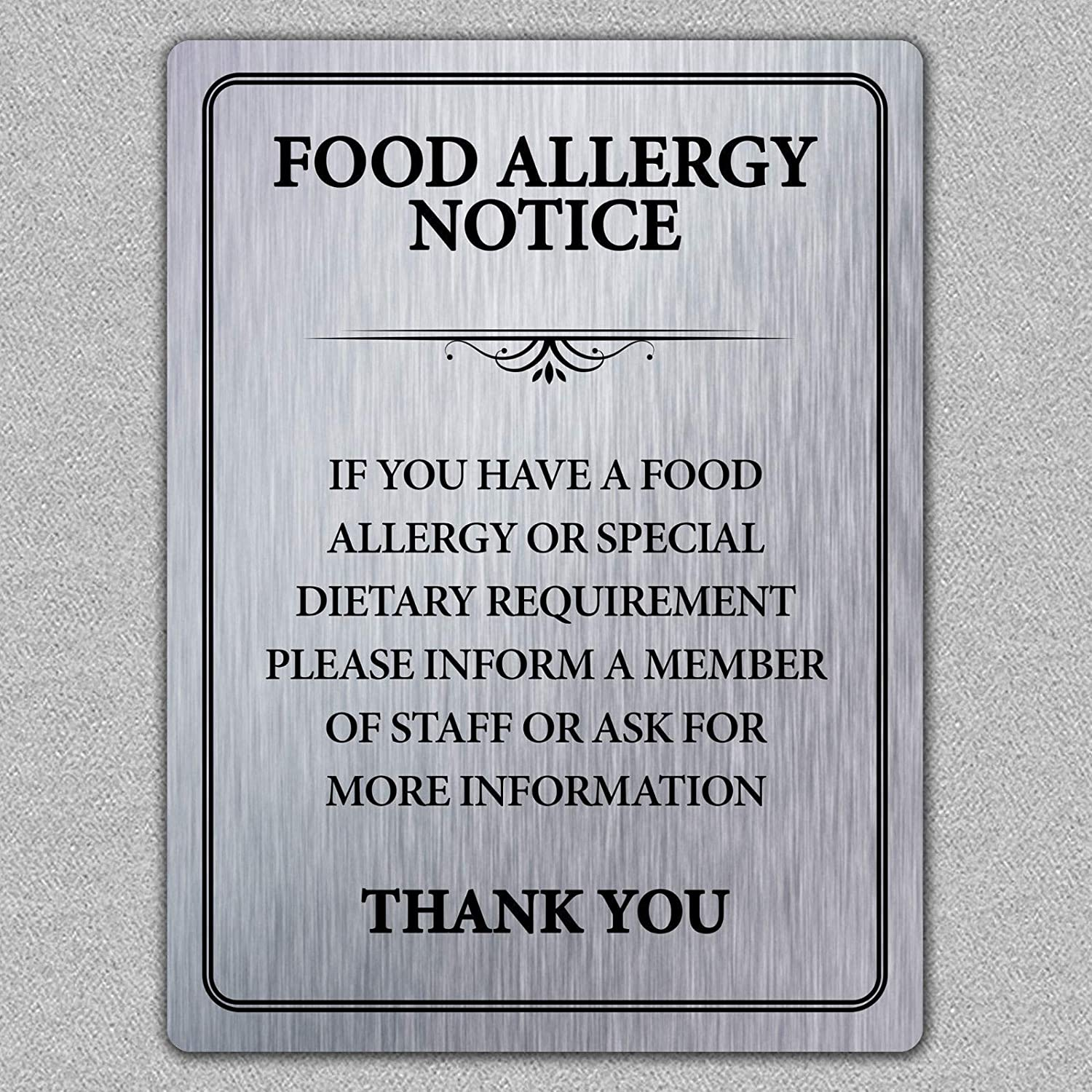 Food Allergy Store Safety Notice Tin Sign Metal TIN 7.8X11.8 Super sale